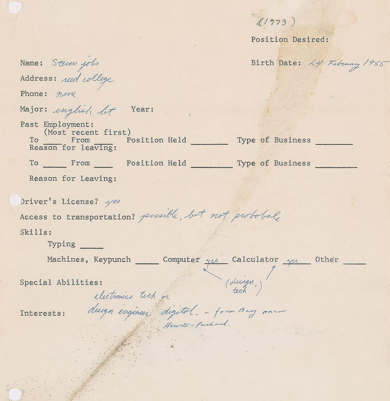 Steve Jobs application for a job in 1973